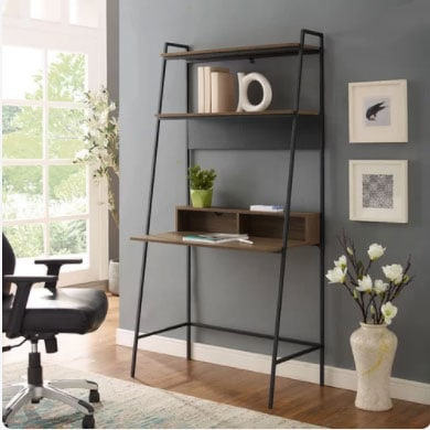 dark gray charcoal walls with small desk