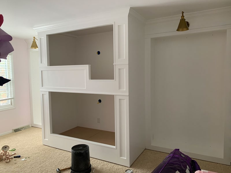 painted white diy built in bunk beds for girls bedroom