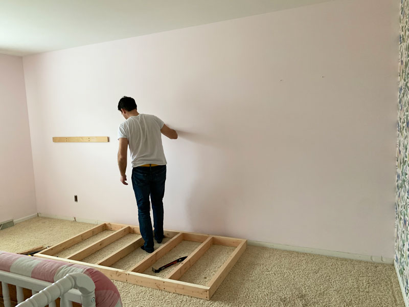 how to make a base for a built-in bunk bed