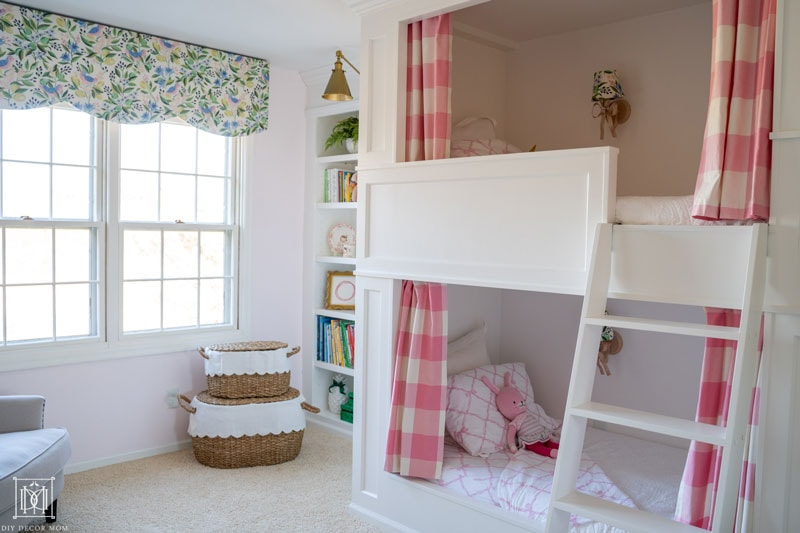 stunning scalloped cornice box with built-in bunk beds and ladder