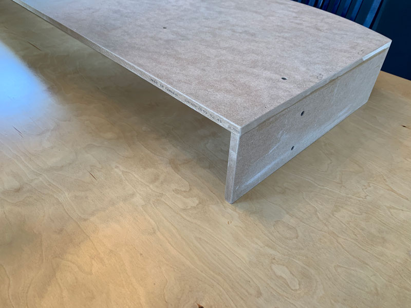 assembled cornice board with sides on workshop table