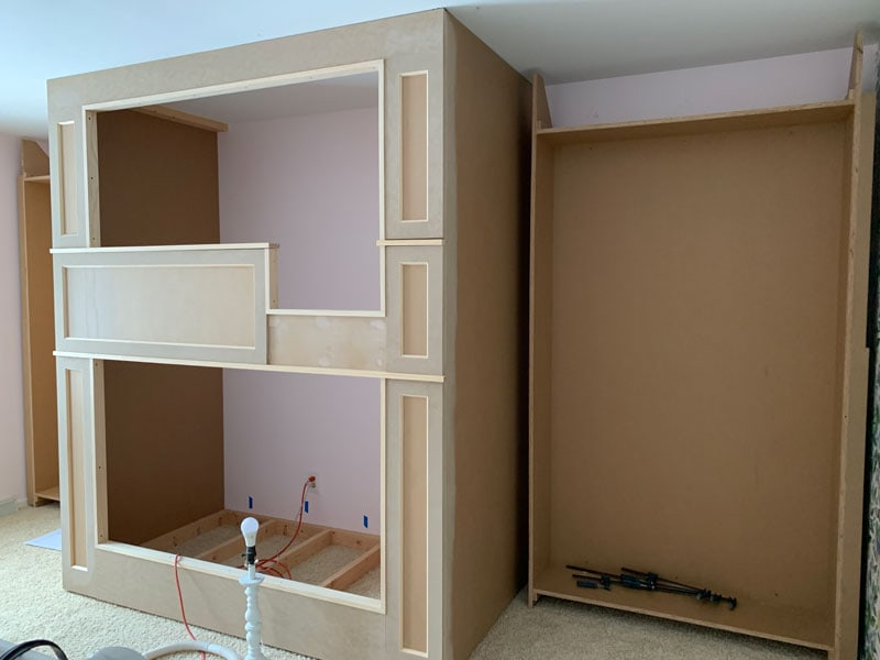 assemble the frames of the diy built-in bookcase