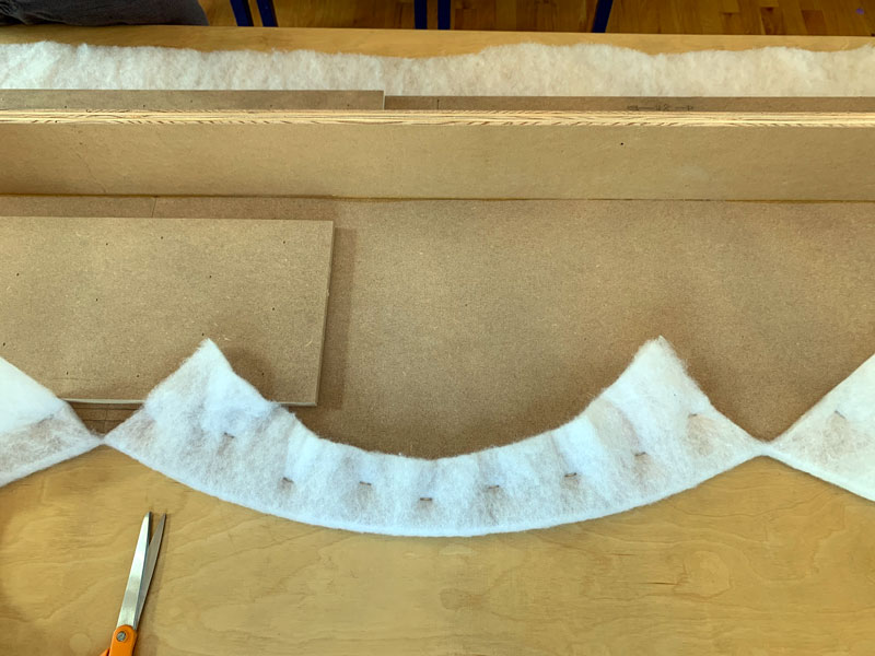 attach batting to cornice box with staples