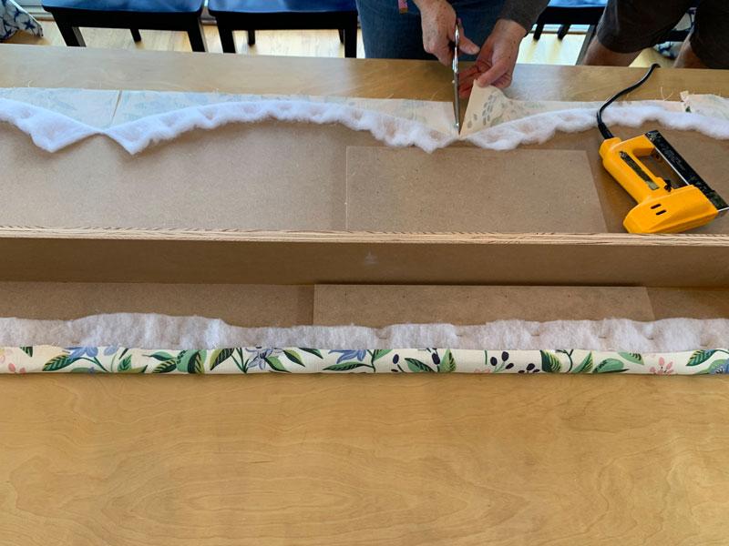staple fabric to wooden cornice board
