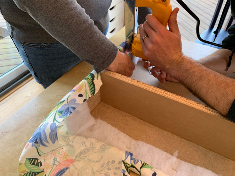 how to cover the sides of a window cornice box with fabric