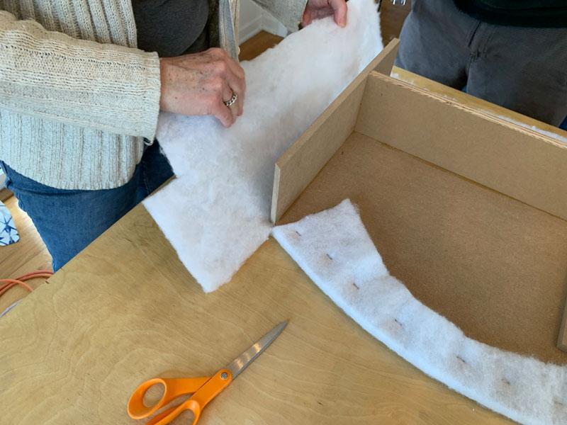 how to wrap a window cornice in fabric