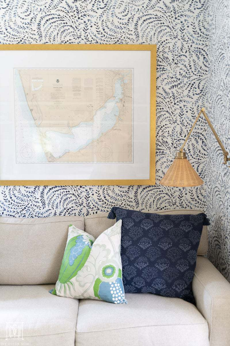 """gorgeous framed nautical chart or nautical """"map"""" framed on wallpapered wall"""
