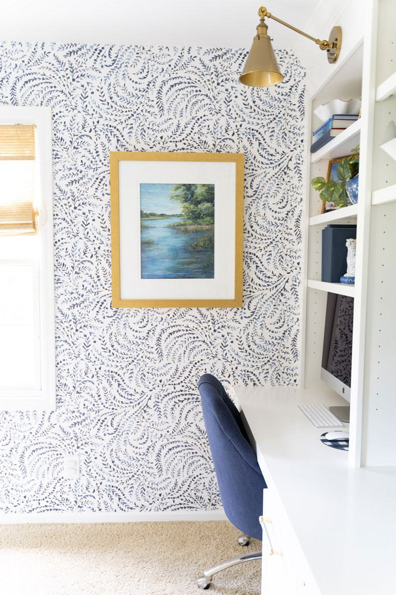 blue and white wallpaper by Serena and Lily- Priano