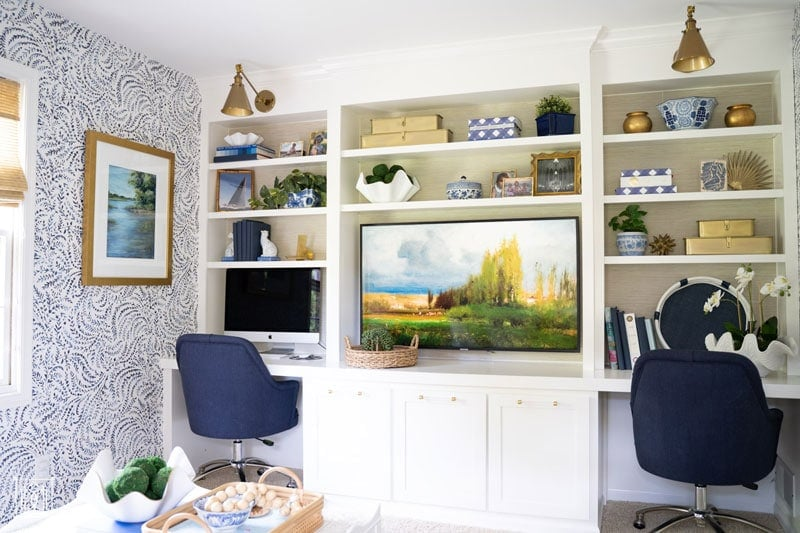 diy office makeover with built-in desk and grasscloth wallpaper