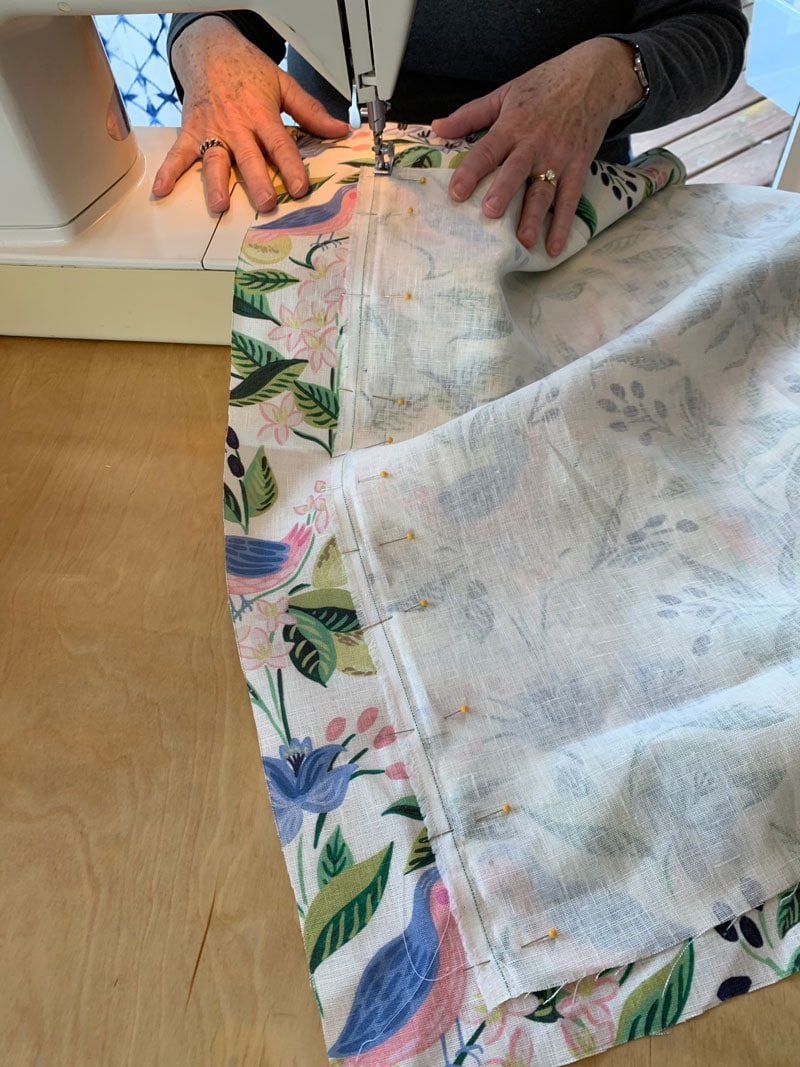 sewing two fabric pieces together to cover window valance box