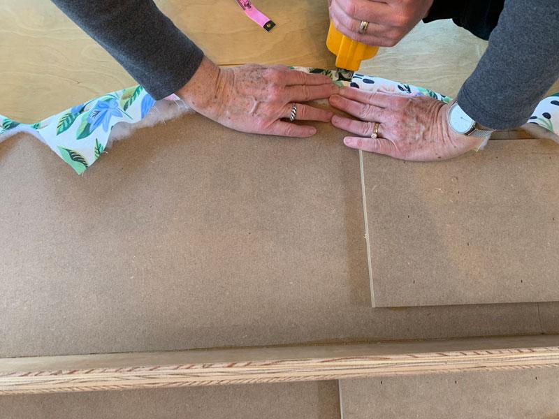 how to staple a scalloped window cornice board