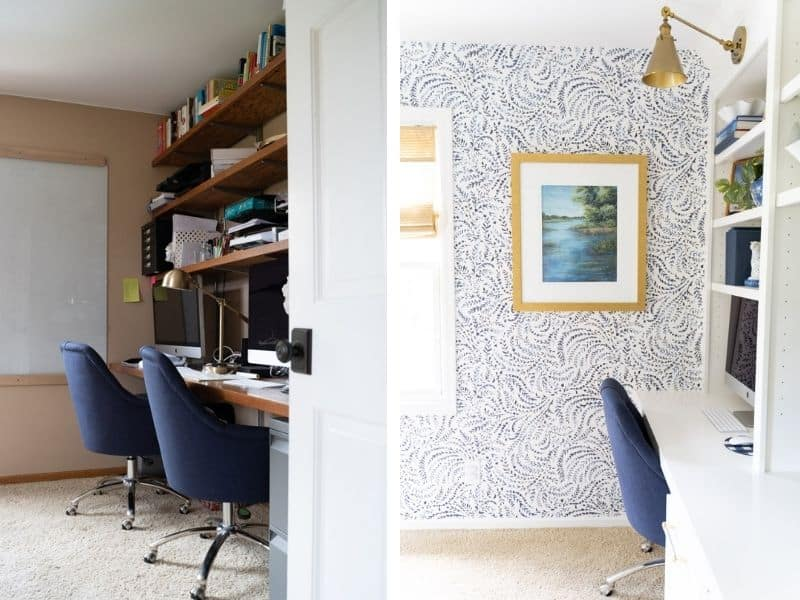 before and after home office makeover
