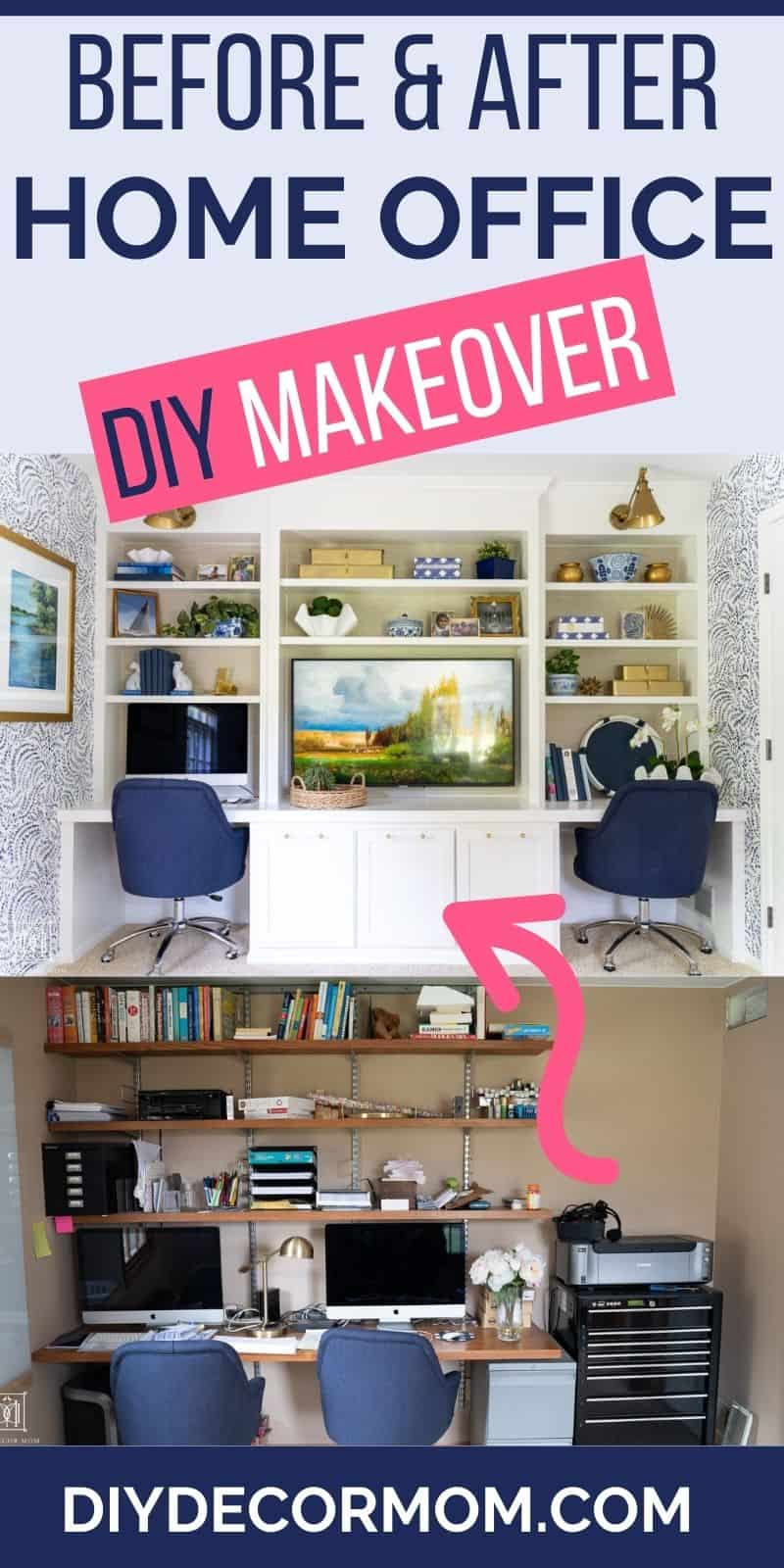 DIY home office makeover before and after