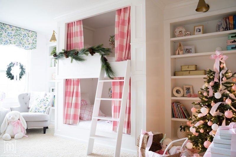 built-in bunk beds with curtains with holiday decor