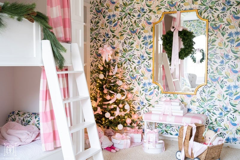 bunk bed ladder with christmas tree
