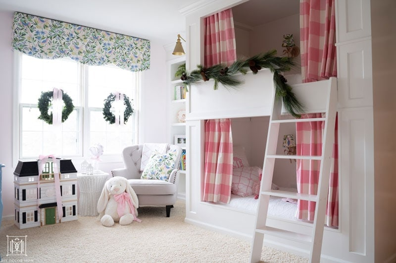diy bunk beds with holiday evergreen garland
