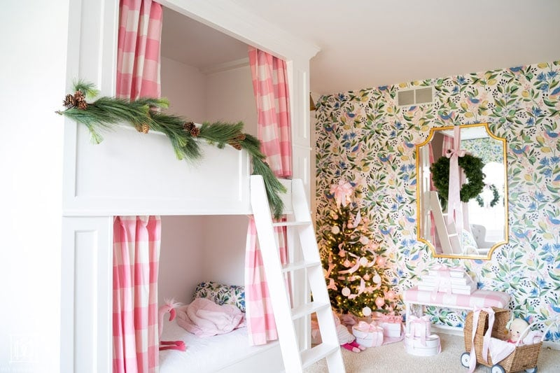 diy built-in bunkbeds decorated for christmas