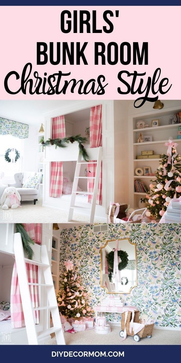 built-in bunk beds decorated for christmas in girls' bedroom