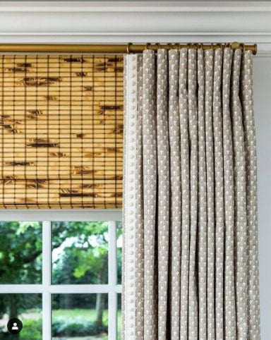 above window mounted bamboo blinds with curtains- anne wagoner interiors