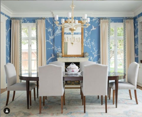acrylic curtain rods in blue dining room- jenkins interiors