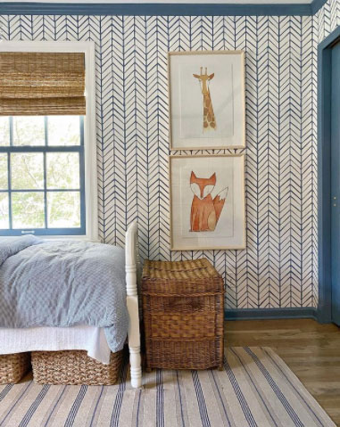 amy studebaker design boys room with blue and white wallpaper and bamboo blinds