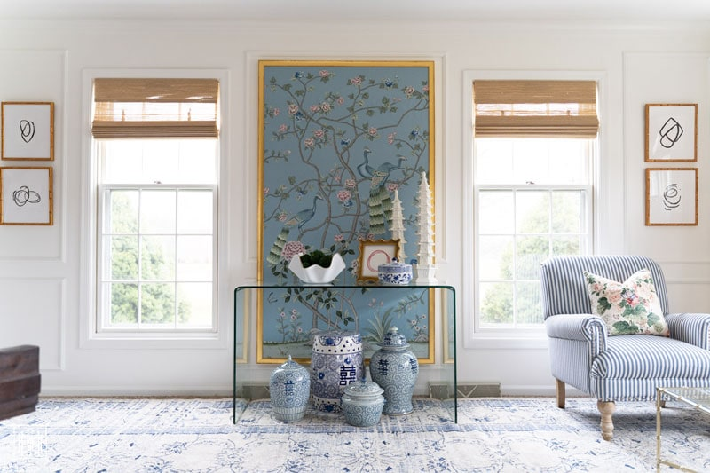 diy chinoiserie panels with bamboo shades in white living room