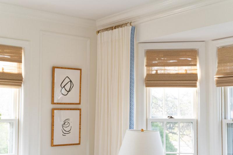 diy lucite curtain rod in living room