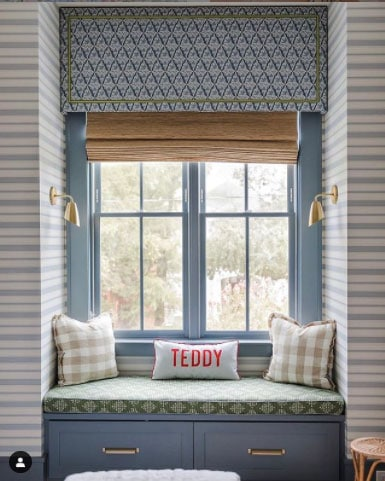 window seat with cornice box and bamboo shades