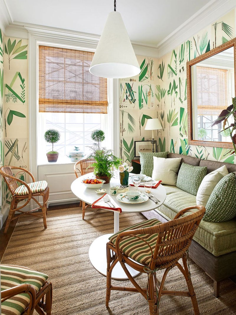 tom scheerer bamboo blinds in breakfast room